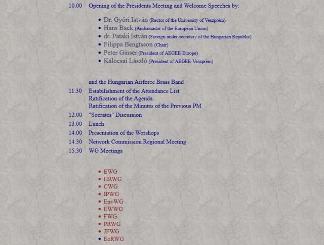 Veszprem PM programme WG