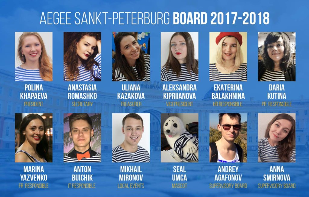 The current board of AEGEE-Sankt-Peterburg.