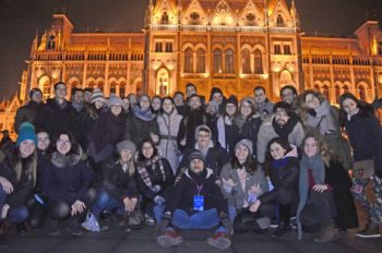 The group in front of the Hungarian parliament in Budapest.