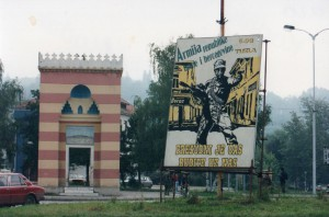 A billboard calls for support for the Bosnian army.