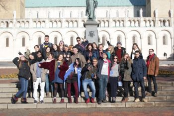 Group picture in front of the Cathedral of Pécs.