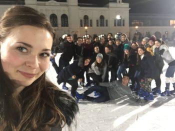 At the famous Városliget Ice-skating rink.